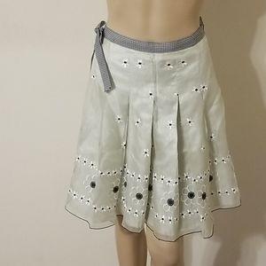 Lapis Silk Floral Print Skirt